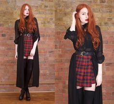 Boohooo Maxi Shirt Dress, Mum's Old One Belt, Topshop Tartan Kilt Style Skirt, Oasap Boots - Clueless ☽. - Olivia Emily