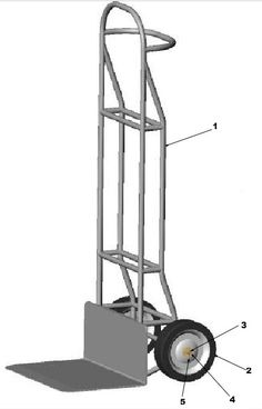 Hand truck assembly illustration and list of parts.