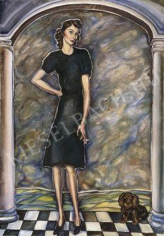 Batthyány Gyula - Cigarettázó nő kiskutyával | 10. Auction aukció / 14 tétel Mona Lisa, Drawings, Artwork, Work Of Art, Auguste Rodin Artwork, Sketches, Artworks, Drawing, Portrait