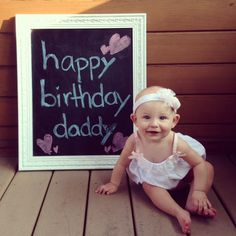 Daddy Birthday Photo From Baby Girl On Chalkboard Frame Gifts For Dad