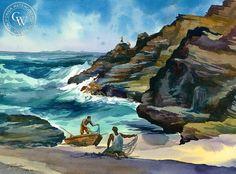 Tending the Nets, Koko Head, Oahu, California art by Sid Bingham. HD giclee art prints for sale at CaliforniaWatercolor.com - original California paintings, & premium giclee prints for sale