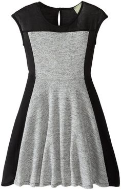 Kiddo Big Girls' Color Blocked Dress, Grey/Black, Medium