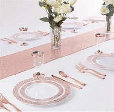 WDF Rose Gold Plastic Plates with Disposable Plastic Silverware,Lace Design Plastic Tableware sets include 25 Dinner Salad Forks, 25 Knives, 25 Spoons/Bonus 25 Mini Forks Gold Plastic Plates, Disposable Plastic Plates, Plastic Silverware, Disposable Tableware, Plastic Bowls, Rose Gold Plates, Gold Home Accessories, Dinning Set, Gold Cup