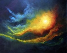 Cosmic Light 11, Skyscape, Celestial Abstract Oil Painting by Marina Petro, painting by artist Marina Petro