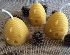 Beeswax Skep Candles Set of 3 Skep Candles Beeswax Candle Beeswax Candles, Votive Candles, Buy Candles, Handmade Shop, Etsy Handmade, Handmade Gifts, Etsy Crafts, Handmade Christmas, Christmas Decor