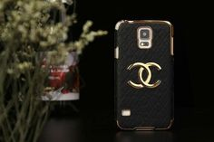 Chanel Samsung galaxy S5 Leather Case covers Black Free Shipping - Deluxeiphonecase.com