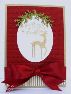 To a special couple Reindeer Christmas card for men and women handmade