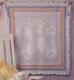 Teddy Bear Filet Baby Blanket