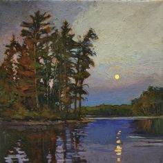 Pines Under A Full Moon - Arts and Crafts CRAFTSMAN - Matted Giclee Art PRINT Moonrise 12x12 by Jan Schmuckal