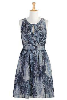 Washed graphic print chiffon dress