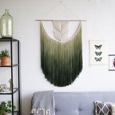 Extra Large Macrame Wall Hanging / Modern Macrame / Wall Art / Boho Wall Hanging / Wall Tapestry / Olive Green Dip-Dye