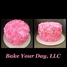 Hot Pink Rosette Cake- Bake Your Day, LLC, Alexandria, LA- www.facebook.com/bakeyourdayllc