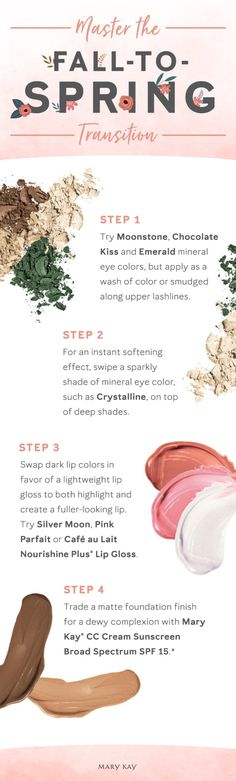 Get into the spring of things with some makeup ideas and tips! Try these seasonal swaps, using products like the Mary Kay® CC Cream Sunscreen Broad Spectrum SPF 15, for a smooth transition into a lighter look.