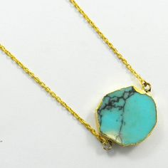 Graceful Synthetic Blue Turquoise gemstone brass long chain pendant necklace #Handmade #Chain #Magicalcollection #Gemstone #Necklace Jewelry #Sterling Silver #Necklace