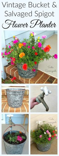 Repurpose a vintage galvanized metal bucket and an antique, salvaged spigot / faucet to create a stunning flower planter for your porch! I used a couple of pipe pieces from the hardware store to finish this, and then planted it with portulaca (moss roses) because they're my favorite. And every Spring, my repurposed planter just explodes with color and life! Wonderful garden upcycle DIY project from #SadieSeasongoods / www.sadieseasongoods.com