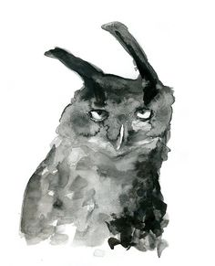 Original Watercolor Painting of an Eagle Owl. Black and white Sumi e Ink painting Animal art. Bird  painting