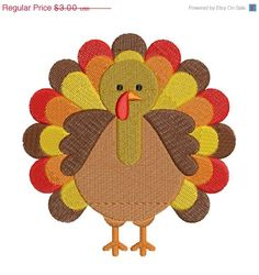 SALE 50% Off Cute Turkey Thanksgiving Fall Machine Embroidery Designs - 4x4 and 5x7 Hoop Instant Download Sale on Etsy, $1.50