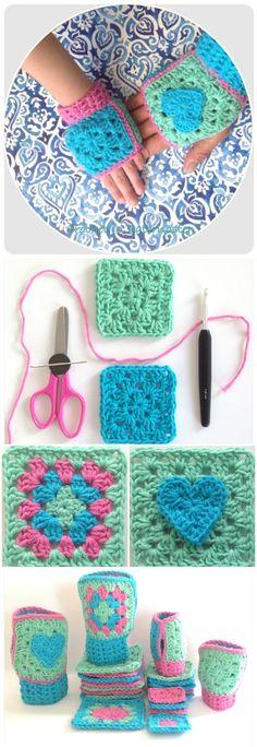 Crochet Boho Granny Square Fingerless Gloves - 101 Free Crochet Patterns - Full Instructions for Beginners | 101 Crochet - Part 3