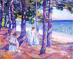 """Théo van Rysselberghe (1862-1926) """" Baigneuses sous les pins, à Cavalière."""""""