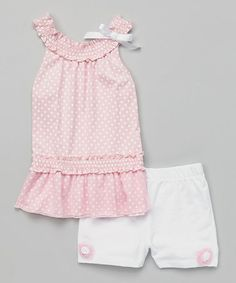 Pink Polka Dot Ruffle Tank & Shorts - Infant & Toddler by Dreamstar #zulily #zulilyfinds $11.99