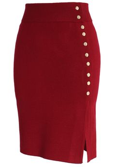 Studs Knitted Pencil Skirt in Wine - Skirt - Bottoms - Retro, Indie and Unique Fashion