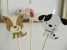 Girl Puppy Centerpiece Sticks, Puppy Birthday Party, Dog Birthday Party, Dalmatian, Terrier, Dachshund by 2muchpaper on Etsy https://www.etsy.com/listing/219692871/girl-puppy-centerpiece-sticks-puppy
