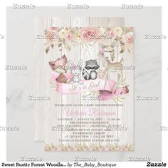 Sweet Rustic Forest Woodland Animal Baby Shower Invitation Baby Shower Invitation Cards, Baby Shower Invitations For Boys, Deer Baby Showers, Baby Boy Shower, Woodland Baby, Woodland Animals, Rose Girl, Blush Roses, Rustic Baby