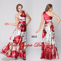 Red floral evening dress / prom / matric farewell / ball.