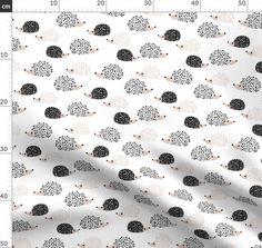 Colorful fabrics digitally printed by Spoonflower - Scandinavian sweet hedgehog illustration for kids gender neutral black and white Hedgehog Illustration, Black And White Fabric, Scandi Style, Cool Fabric, Natural Texture, Spoonflower, Gender Neutral, Custom Fabric, Designer