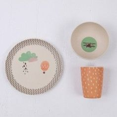 Love Mae Bamboo Plate Set - Up, up and away!