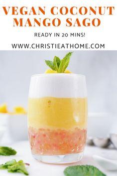 Vegan Coconut Mango Sago (Vegetarian Recipe) - Christie at Home Yummy Drinks, Delicious Desserts, Dessert Recipes, Yummy Food, Mango Sago, Asian Desserts, Home Recipes, International Recipes, Desert Recipes