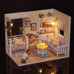New Dollhouse Miniature DIY Kit With Cover Wood Toy doll house room Kitten Diary Sale - Banggood.com