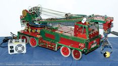 Meccano Model of a Lorry Mounted Crane consisting of Octopus Hobby Toys, Woodworking Toys, Toy Sale, Pulley, Octopus, Monster Trucks, Hobbies, Construction, Metal