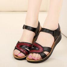 2016 sandalias de cuero de la madre de edad avanzada verano cómodo pendiente cabeza de pescado con antideslizante inferior suave plana zapatos de las mujeres(China (Mainland))