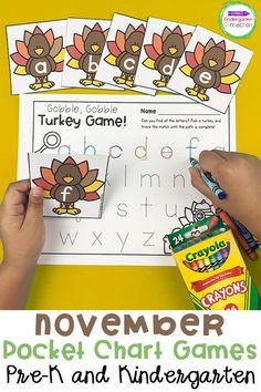 These November pocket chart games and activities are perfect to help your Pre-K or Kindergarten students practice sight words, letters, sounds, and more! Include them in your Fall themed or Thanksgiving themed literacy centers and circle time for lots of fun learning activities! #fallactvities #thanksgivingactivities #kindergarten #prek