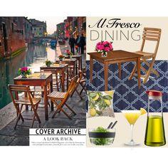 Al Fresco dining in Venice by ayeshamaniktala on Polyvore featuring interior, interiors, interior design, home, home decor, interior decorating, Ethan Allen, Skagerak, Bodum and Pottery Barn