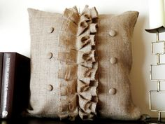 Burlap Ruffles pillow cover with buttons by MadeInBurlap on Etsy