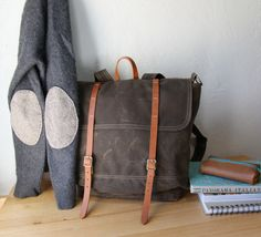 Waxed Canvas Backpack // Rucksack // Leather Straps // Organic Cotton Lining. $198.00, via Etsy.