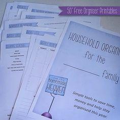 A Little Bit Of Homemade Heaven: Free Printable Household Organiser