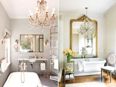 Bathroom. Love the large mirror behind the bathtub.