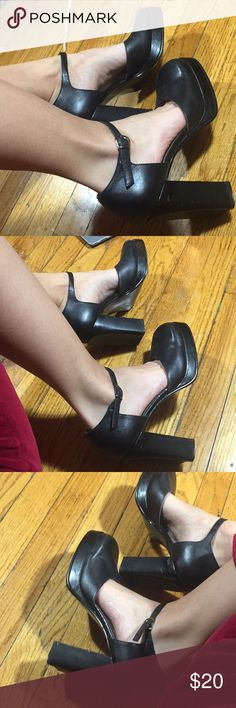 Maripé Vintage black platform stacked heels size 8 Great vintage condition, other than some scuffs on heel and soles. Label says 7.5 fits like an 8. Super cute 90's strappy shoes. I wish there were my size  I would've kept them :) MATERIAL: LEATHER Feel free to ask any questions :) Maripé Shoes Heels