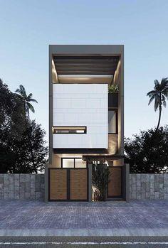 49 most popular modern dream house exterior design ideas 31 Townhouse Exterior, Modern Townhouse, Townhouse Designs, Minimalist House Design, Modern House Design, Facade Design, Exterior Design, Narrow House Designs, Box Houses