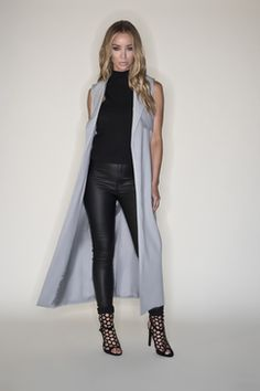 a2d0c217fb85a By Lauren Pope Grey Sleeveless Long Line Trench Coat Lauren Pope