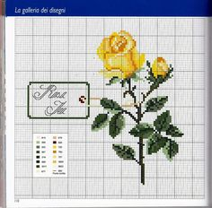 Victoria - Handmade Creations: Designs for embroidery with roses Cross Stitch Rose, Cross Stitch Flowers, Cross Stitch Charts, Cross Stitch Designs, Cross Stitch Patterns, Beading Patterns, Flower Patterns, Embroidery Patterns, Cross Stitching
