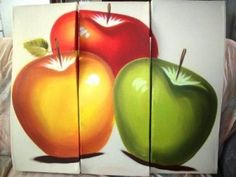 cuadros de frutas para comedor muy bonitas Multi Canvas Painting, Star Painting, Fruit Painting, Large Canvas Art, Oil Painting Flowers, Canvas Wall Art, Acrylic Paintings, Vegetable Painting, Apple Kitchen Decor