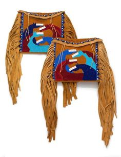Jackie Bread (b. 1960), a Pikuni (Blackfeet) artist, beaded these saddle bags especially for the Song for the Horse Nation exhibit. Pikuni flat cases, 2009, Montana. Seed beads, tanned hide, rawhide and wool.