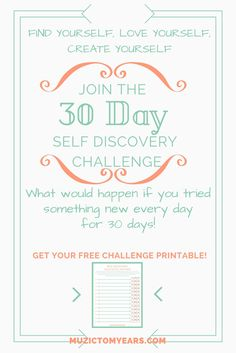 30 Day Self Discovery Challenge! Make 2017 your best year yet. My new year's resolution is to go on a path of self discovery and I'm inviting you to join the challenge! Find yourself, live yourself, and create yourself! Click through to join and get your free challenge printable.