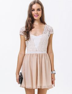 White Apricot Short Sleeve Embroidered Pleated Dress pictures