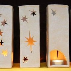 Cut out stars pillar tea light holder
