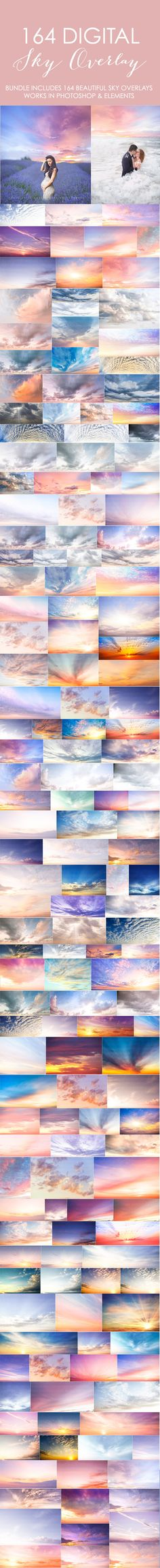 These are STUNNING!!! Bundle includes 164 beautiful sky overlays. Just choose your sky, copy and paste it over your own image and then erase what you don't need. Transform your images into something magical with these sky overlays.